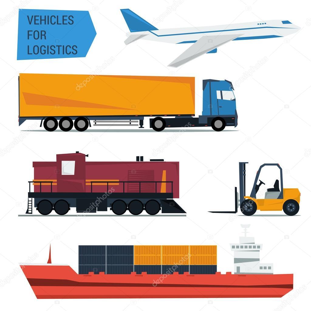 Icone di vettore messe logistica del trasporto merci — Vettoriali Stock © SergeyVasutin #95101662