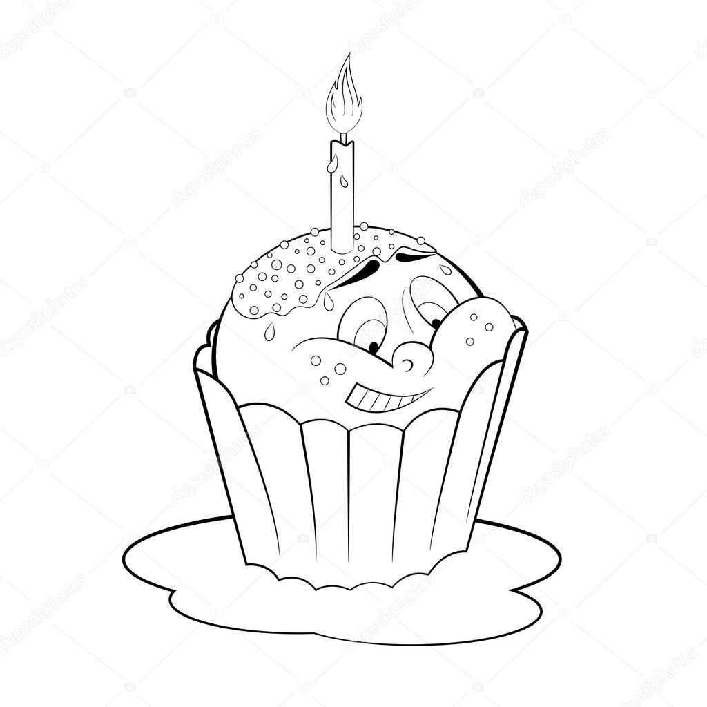 dessin animé petit gâteau avec une bougie coloriage