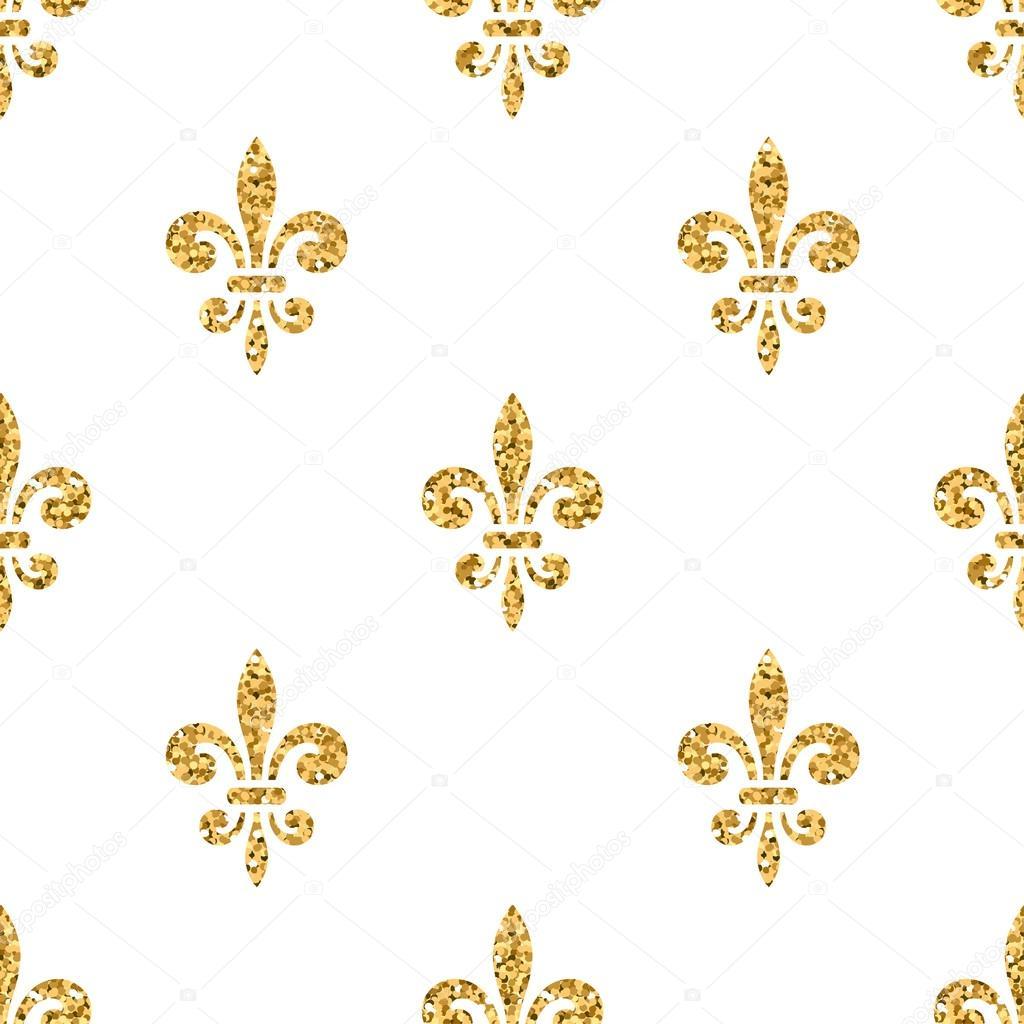 Flor de lis dorada sin fisuras patr n blanco 3 archivo for Papel de pared dorado
