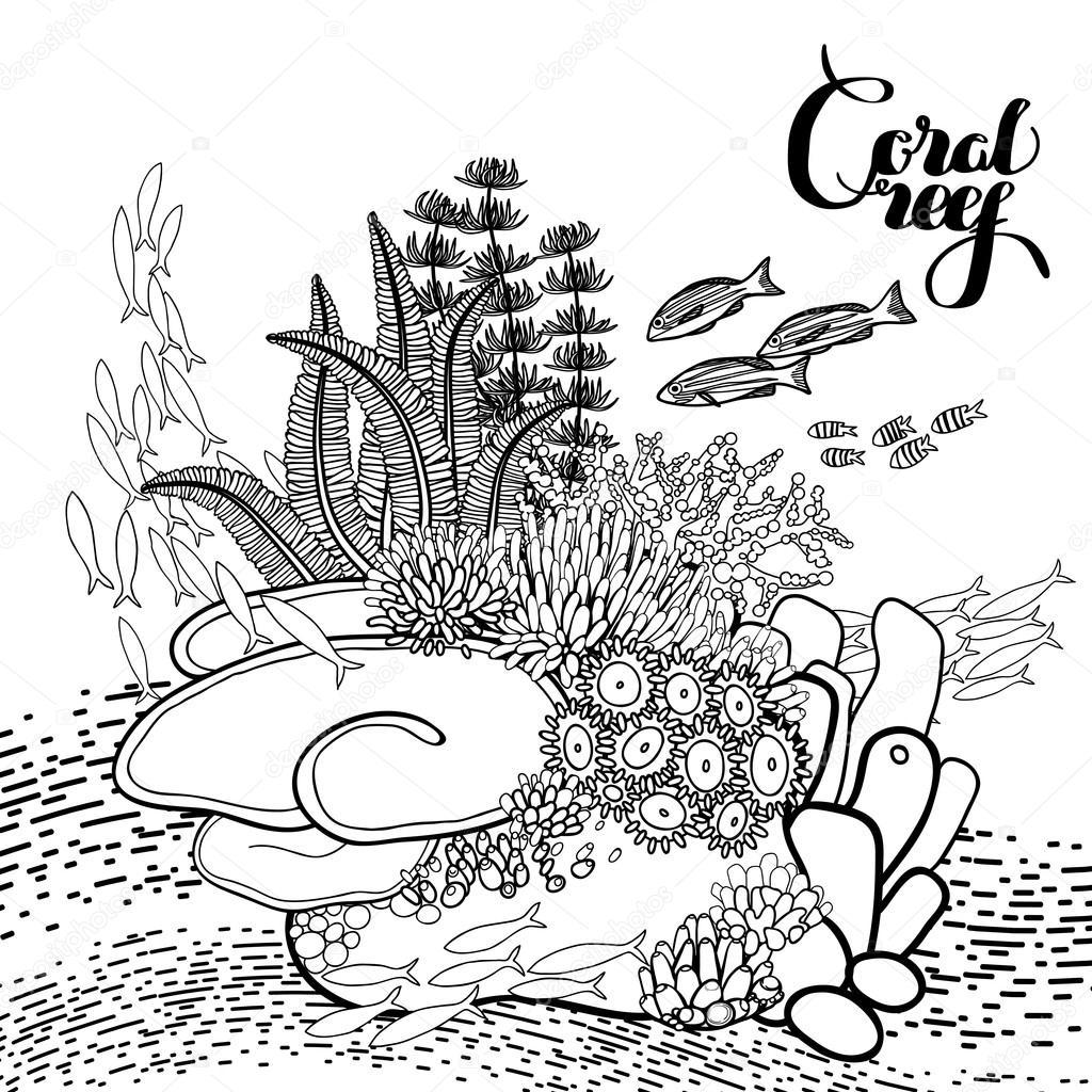 Line Art Corel : Diseño de arrecifes coral — vector stock