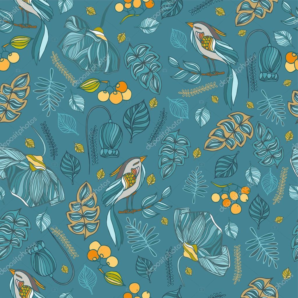 Textile Stock Distributors Mail: Modèle Sans Couture Décorative De Tissu Avec Oiseaux