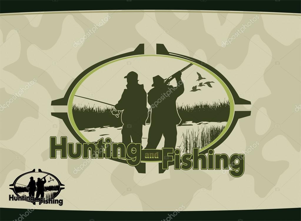охота и рыбалка в векторе