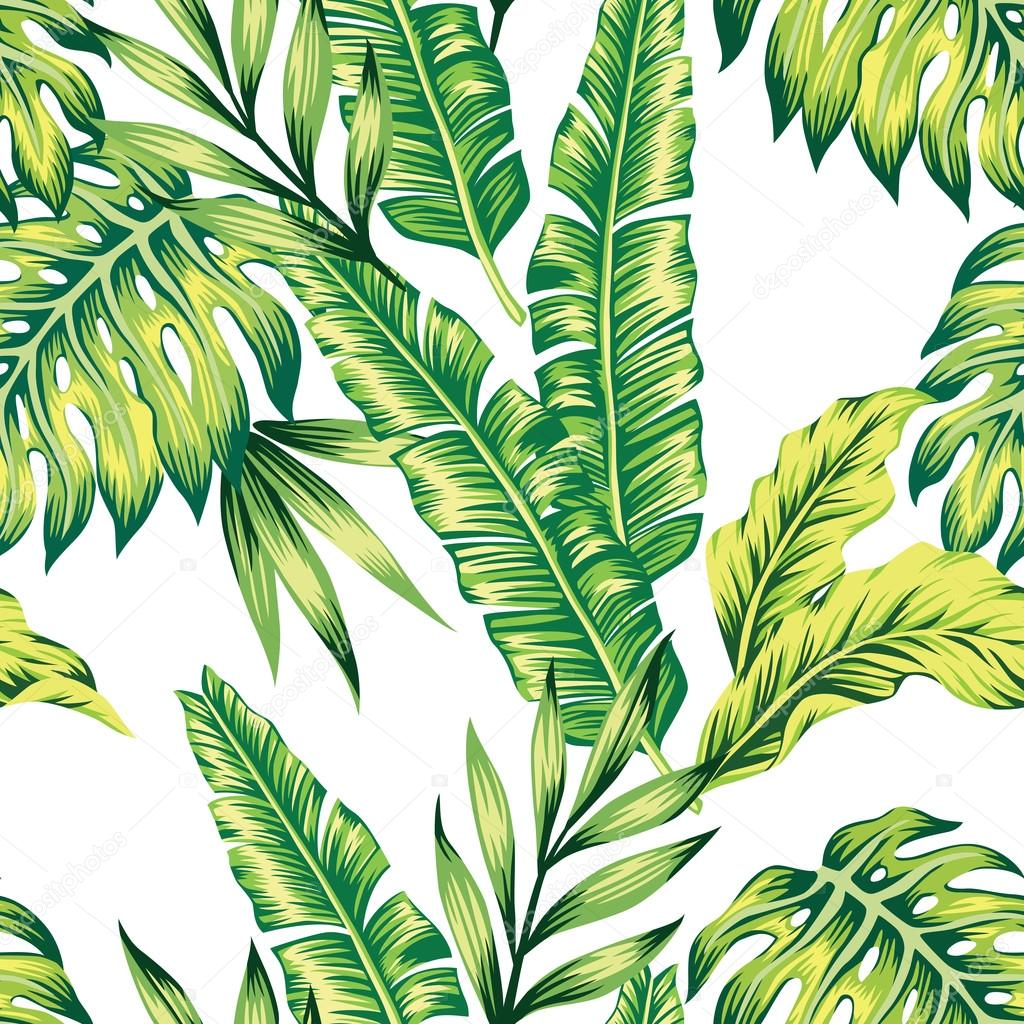 Stock Illustration Tropical Plants Seamless Background on Stock Illustration Fish Silhouette