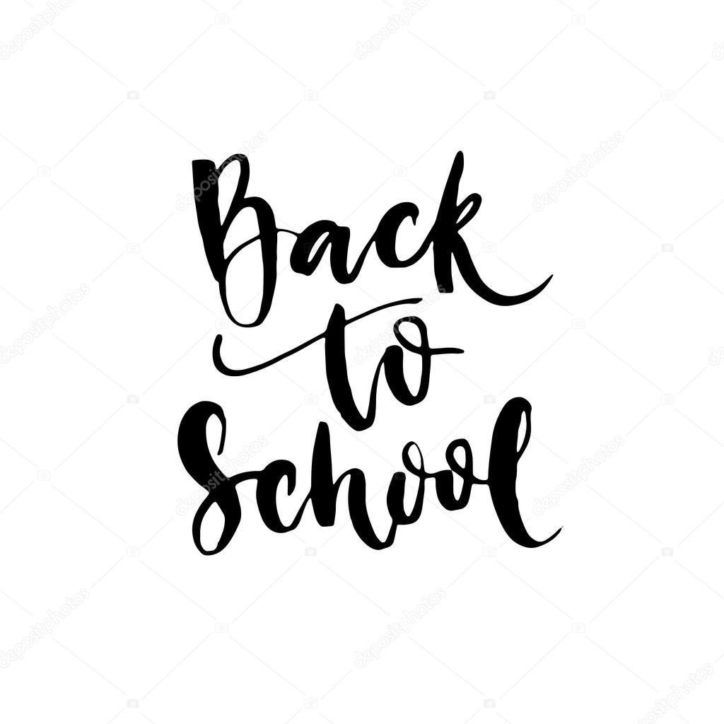 Back to school lettering calligraphy phrase stock