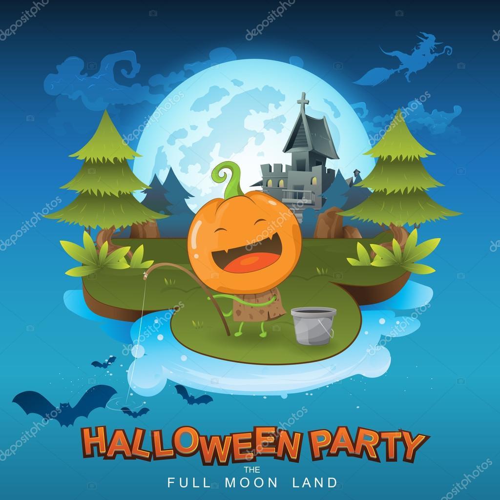 Halloween Party. Full Moon Land — Stock Vector © Space-Vector ...