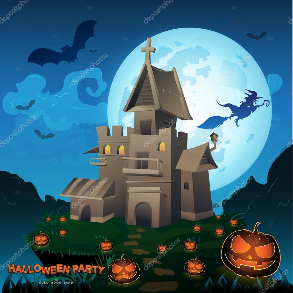 Halloween Party Vector Concept Full Moon Land — Stock Vector ...