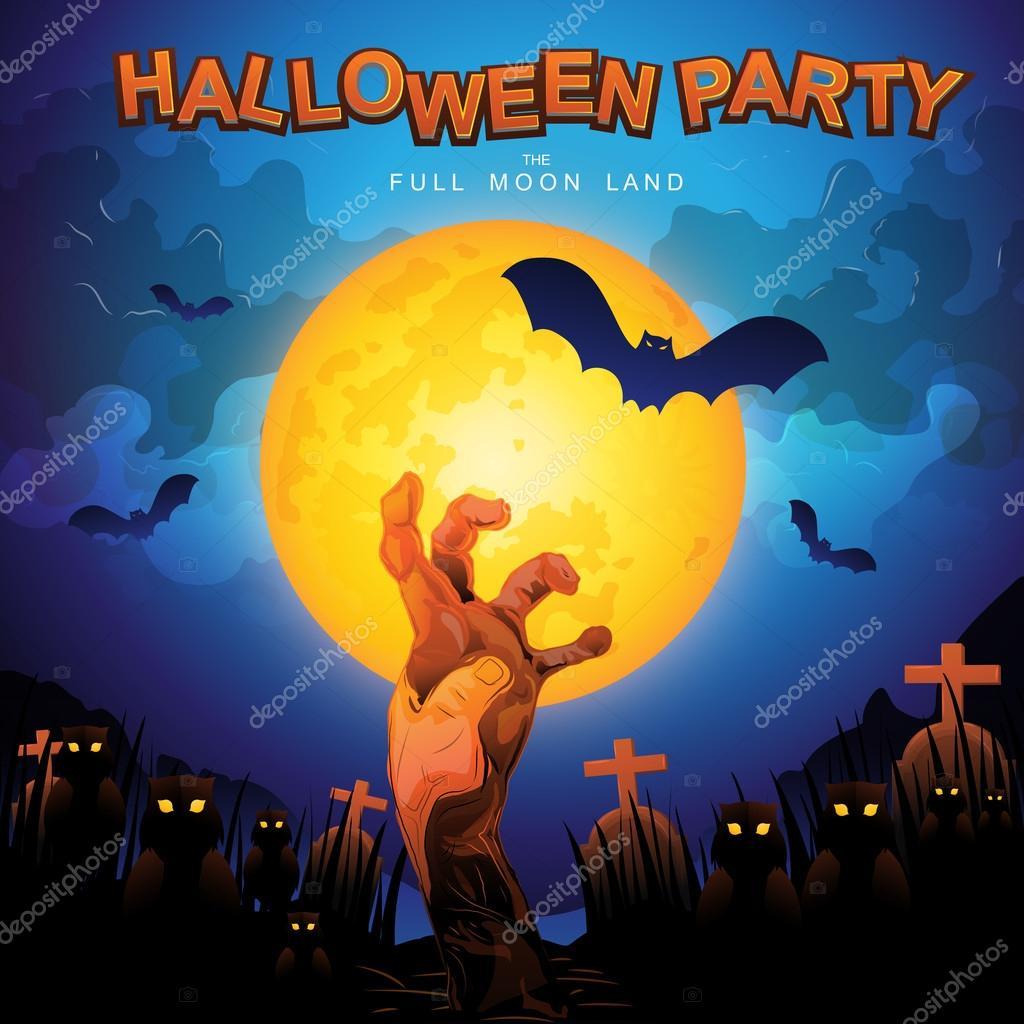 Halloween party full moon land — Stock Vector © Space-Vector #98053136
