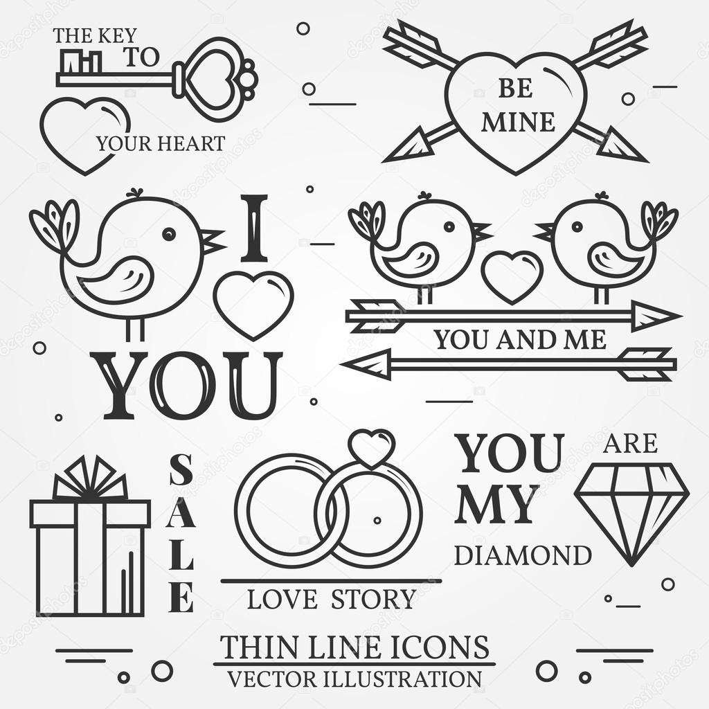 Gmail love theme - Vector Thin Line Badge Label Set For Saint Valentine S Day And Love Theme For Web Design And Application Interface Also Useful For Infographics