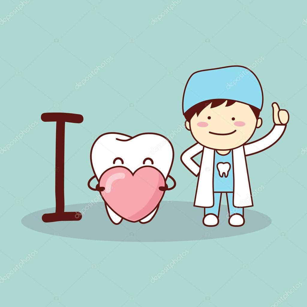 Dentista e do dente feliz dos desenhos animados — Vetores