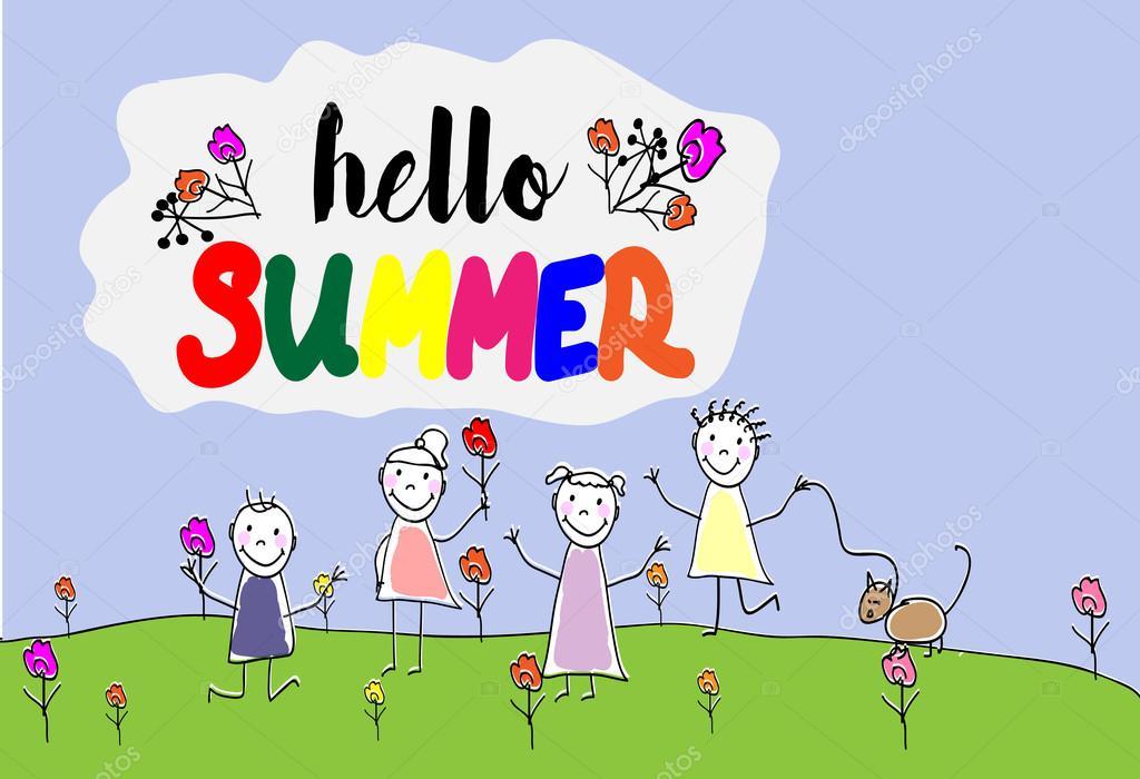 Дети летом рисованные картинки