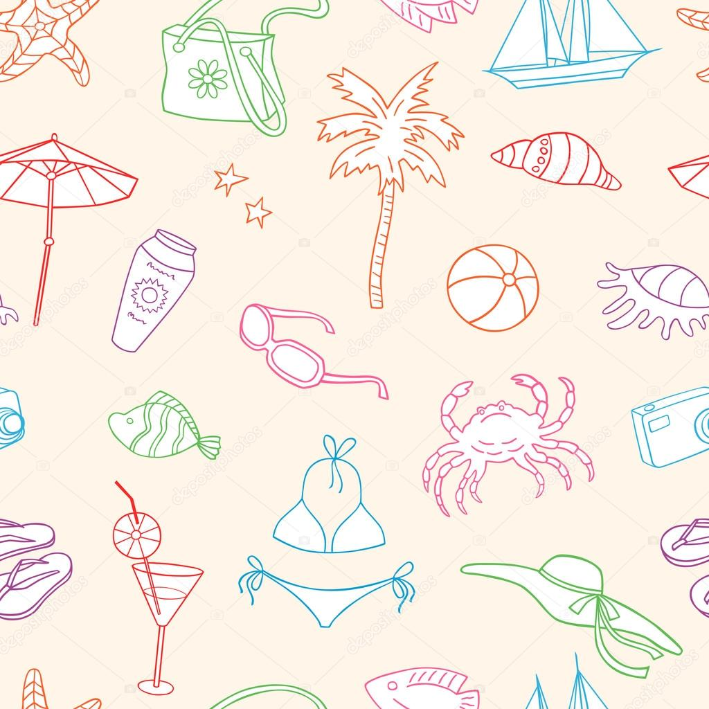 Gmail themes holiday - Vector Pattern Of The Theme Of The Beach Holiday Vector By Mubaister Gmail Com
