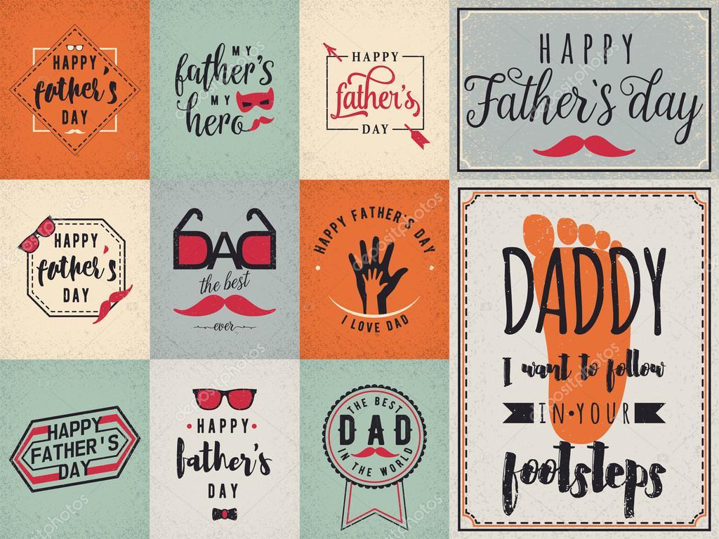해피 아버지의 날 희망 배경, 레터링 라벨 세트 디자인. 레트로 아버지 배지입니다. 손 손, 안경 ...