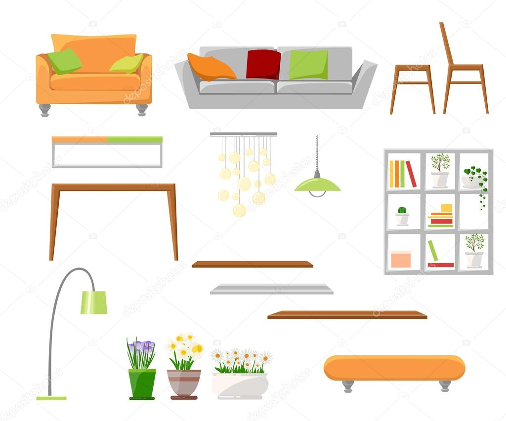 Beautiful design elements vector illustration of living for Chair design elements