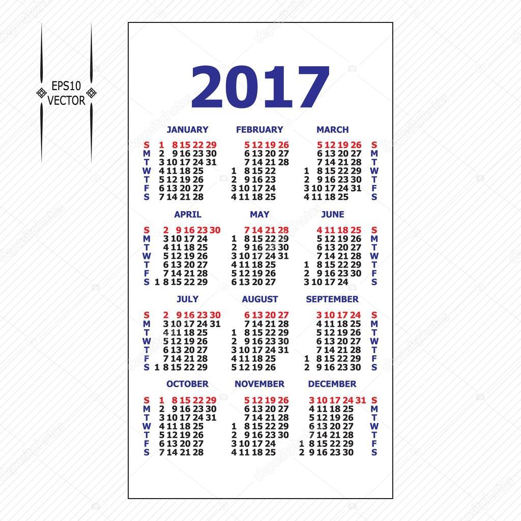 2017 pocket calendar. Template calendar grid. — Stock Vector ...