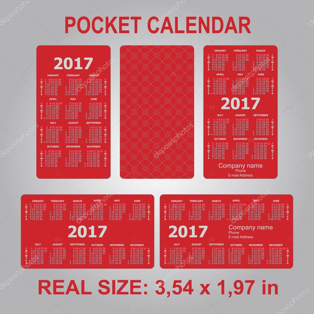 pocket schedule template - 2017 pocket calendar template calendar grid stock