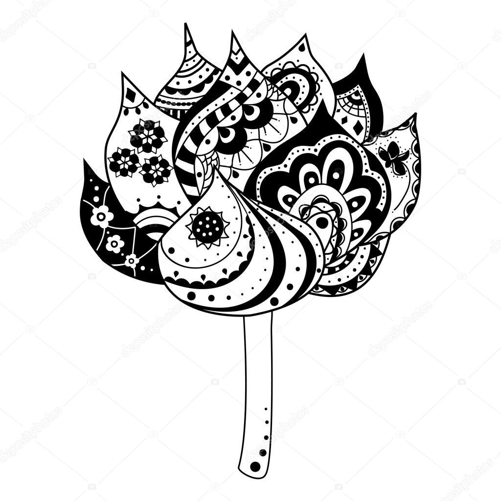 Fiore Di Loto Con Elementi Decorativi Di Indiani E Simboli