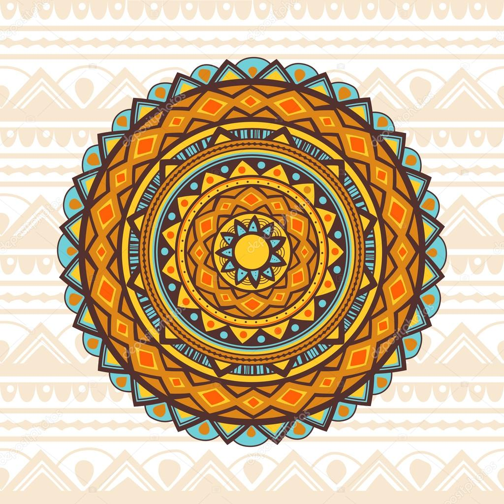 Color bright isolated Mandala Om symbol on round ornaments