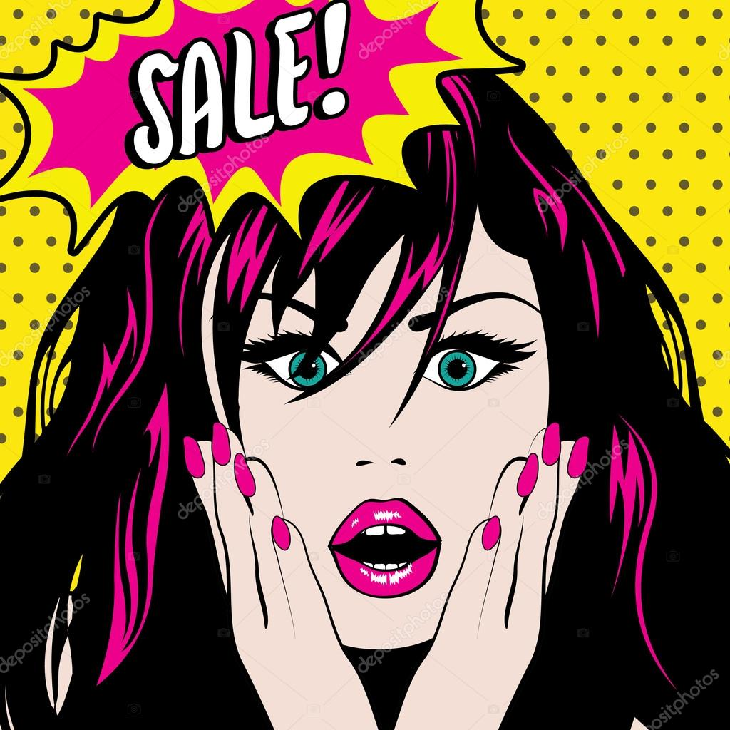 Pop Art Woman Wow Sale Sign Archivo Im Genes Vectoriales Gal Amar 91387822