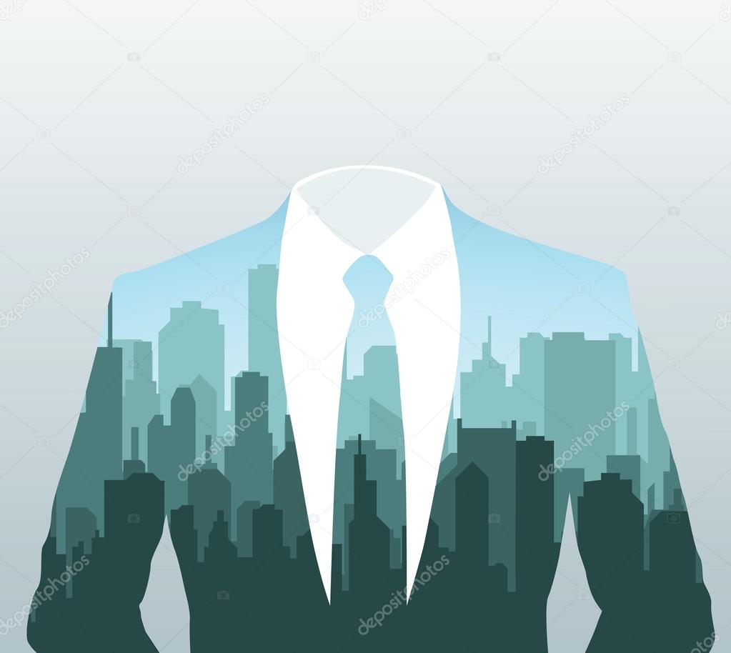 Vector silhouette of businessman