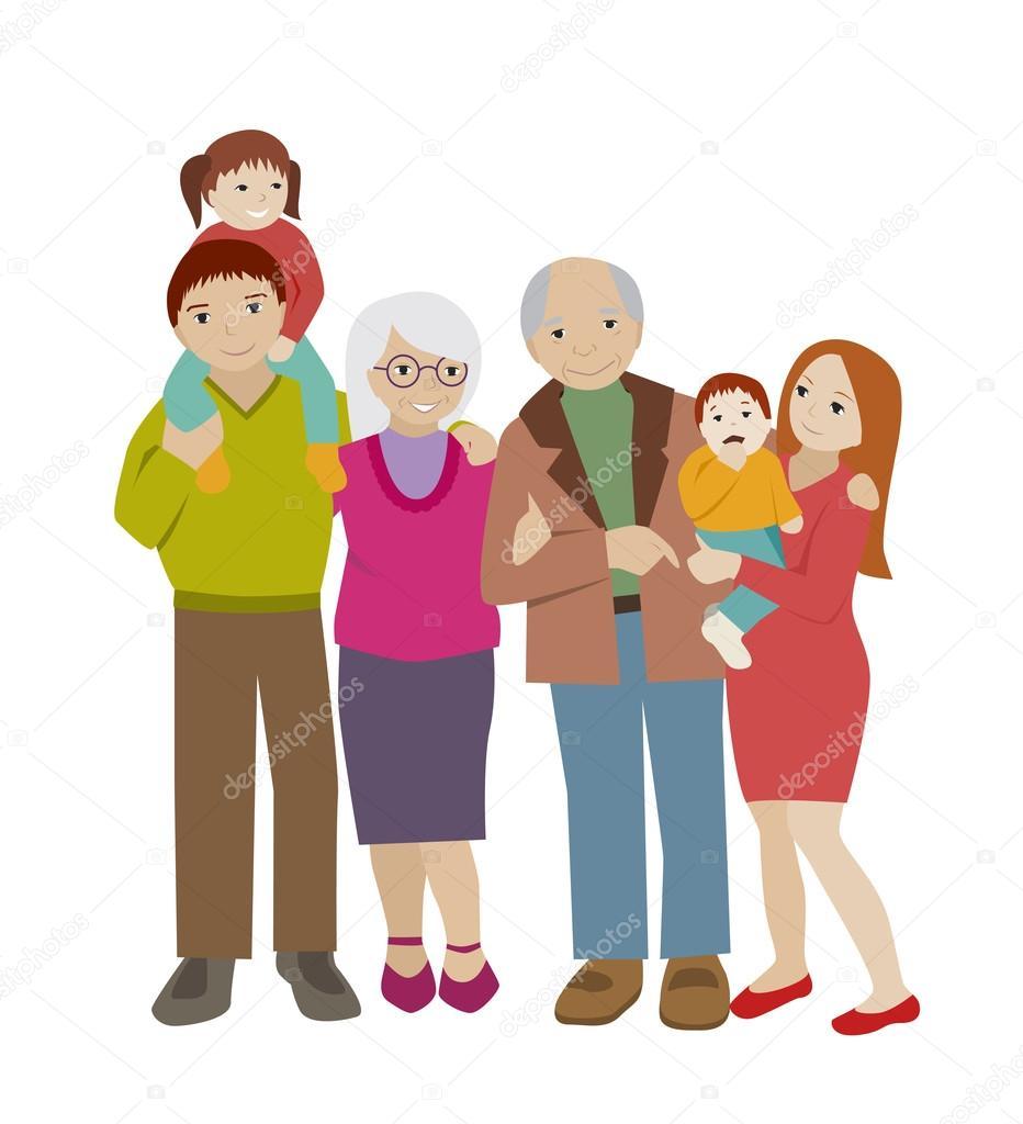 Large family cartoon