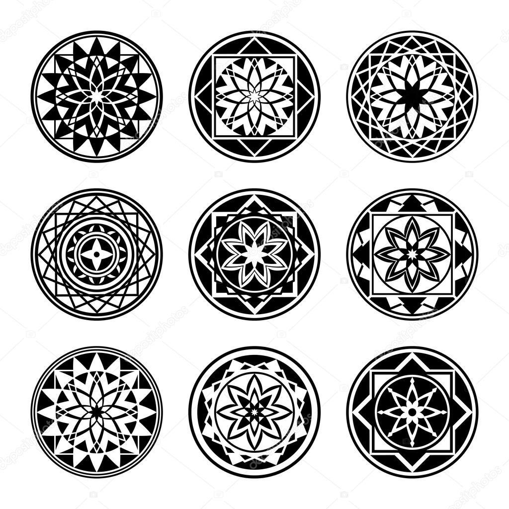 mandala elements tattoo icon set star floral stylized ornament black round signs harmony. Black Bedroom Furniture Sets. Home Design Ideas