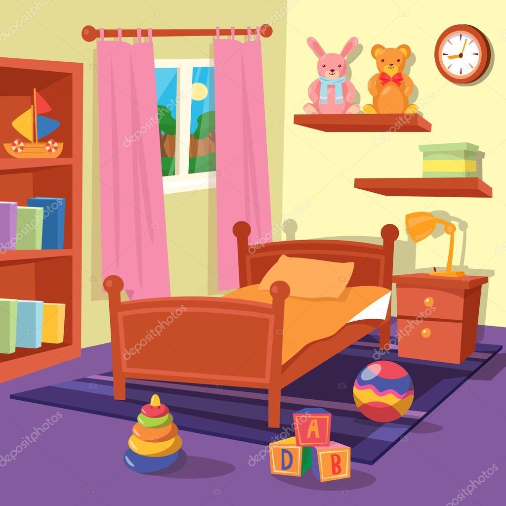 Kids Bedroom Artwork Bedroom Art Gallery Lilac And Blue Bedroom Nice Bedroom Colour: Children Bedroom Interior. Children Room. Vector