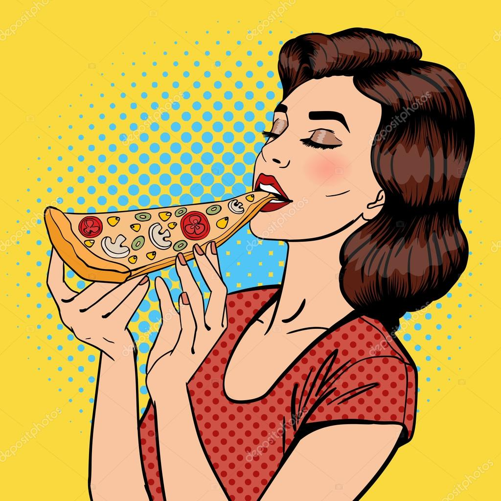 naked girl eating pizza