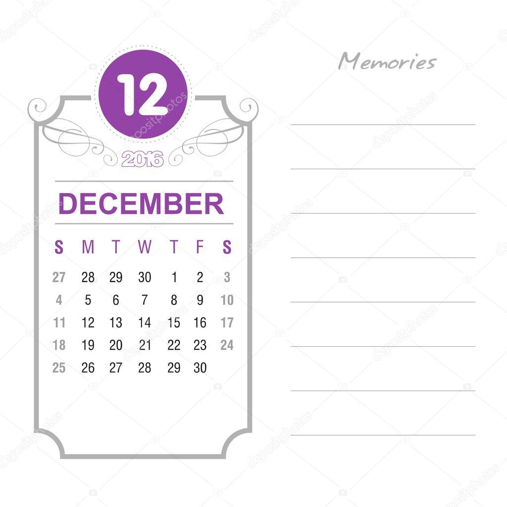 12 月カレンダー 2016 年デザイン テンプレートです。週は日曜日から開始します。イベント カレンダー。ノートと特殊なテキストを配置します。