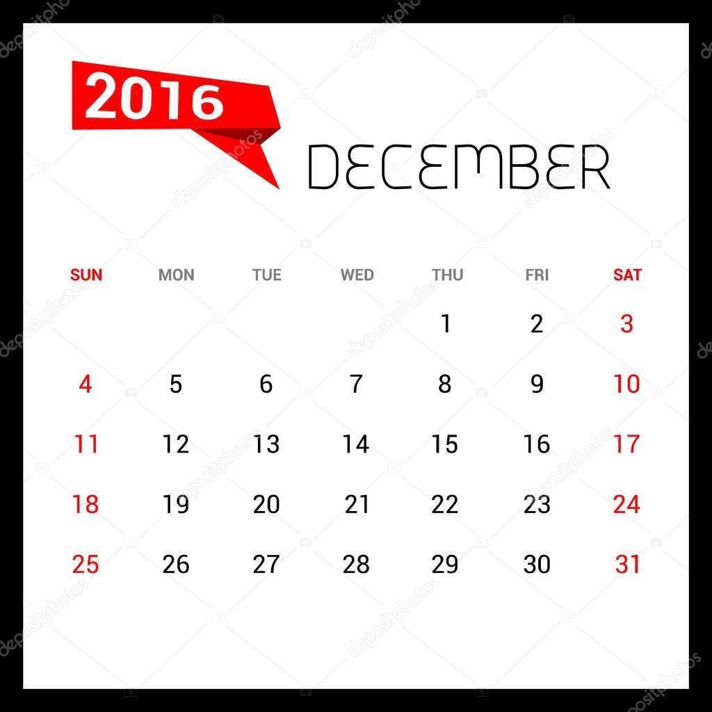 12 月はカレンダー 2016年ベクター デザイン テンプレートです。週は日曜日から開始します。ベクトル図 \u2013 ストックイラストレーション