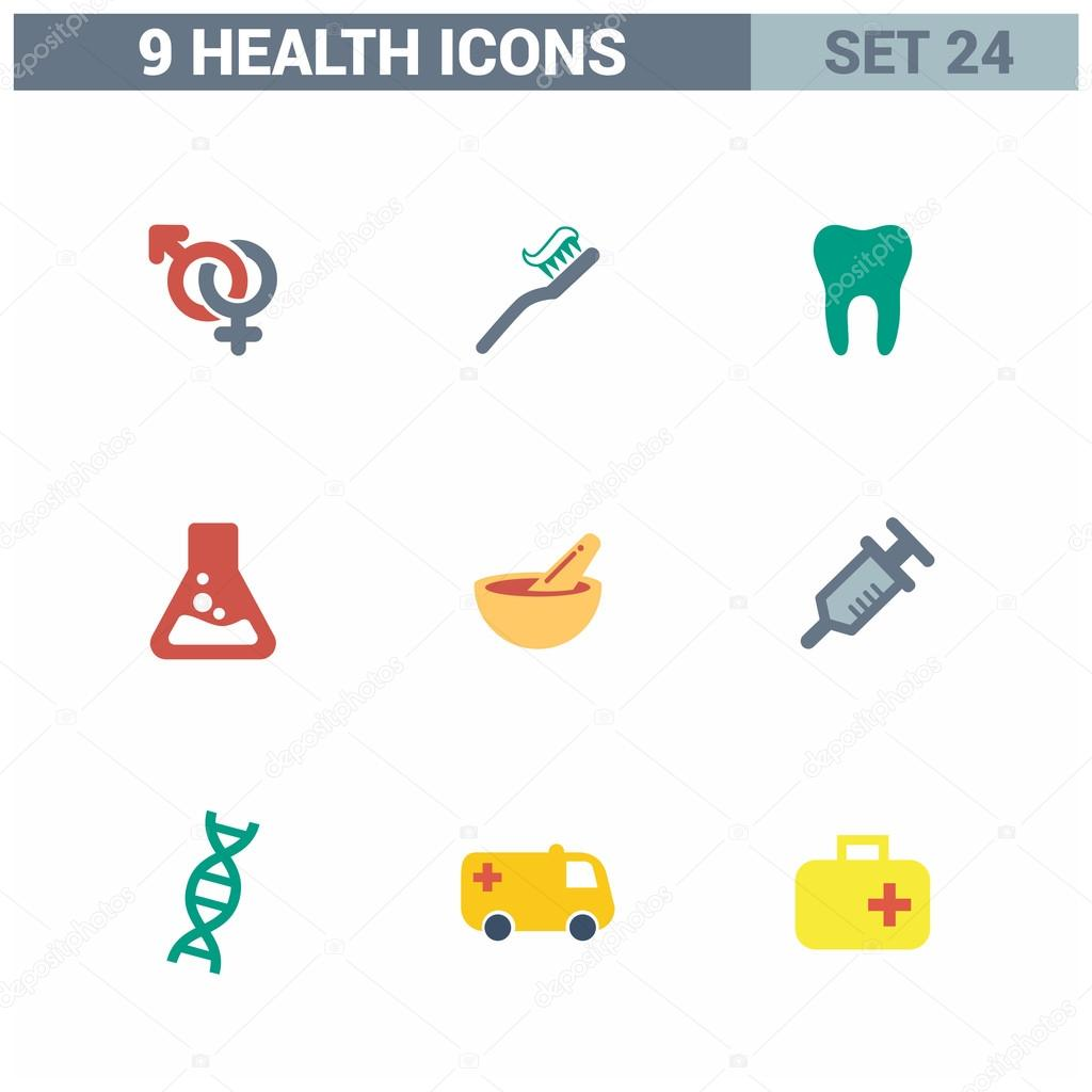 9 application Medical icons set.