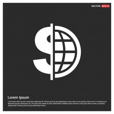 Dollar currency symbol with world globe icon