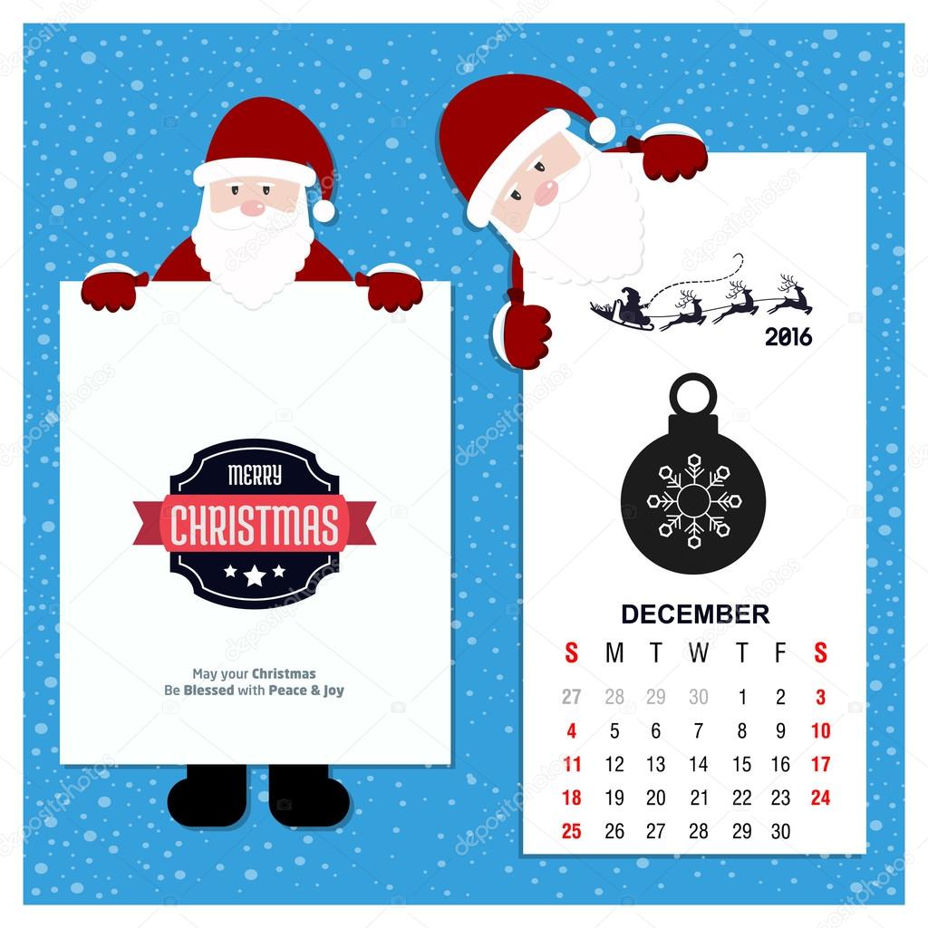 Christmas Calendar 2016 : Christmas calendar with santa claus — stock vector