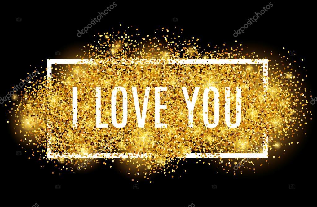 ich liebe sie schwarz gold glitter hintergrund stockvektor 94581006. Black Bedroom Furniture Sets. Home Design Ideas