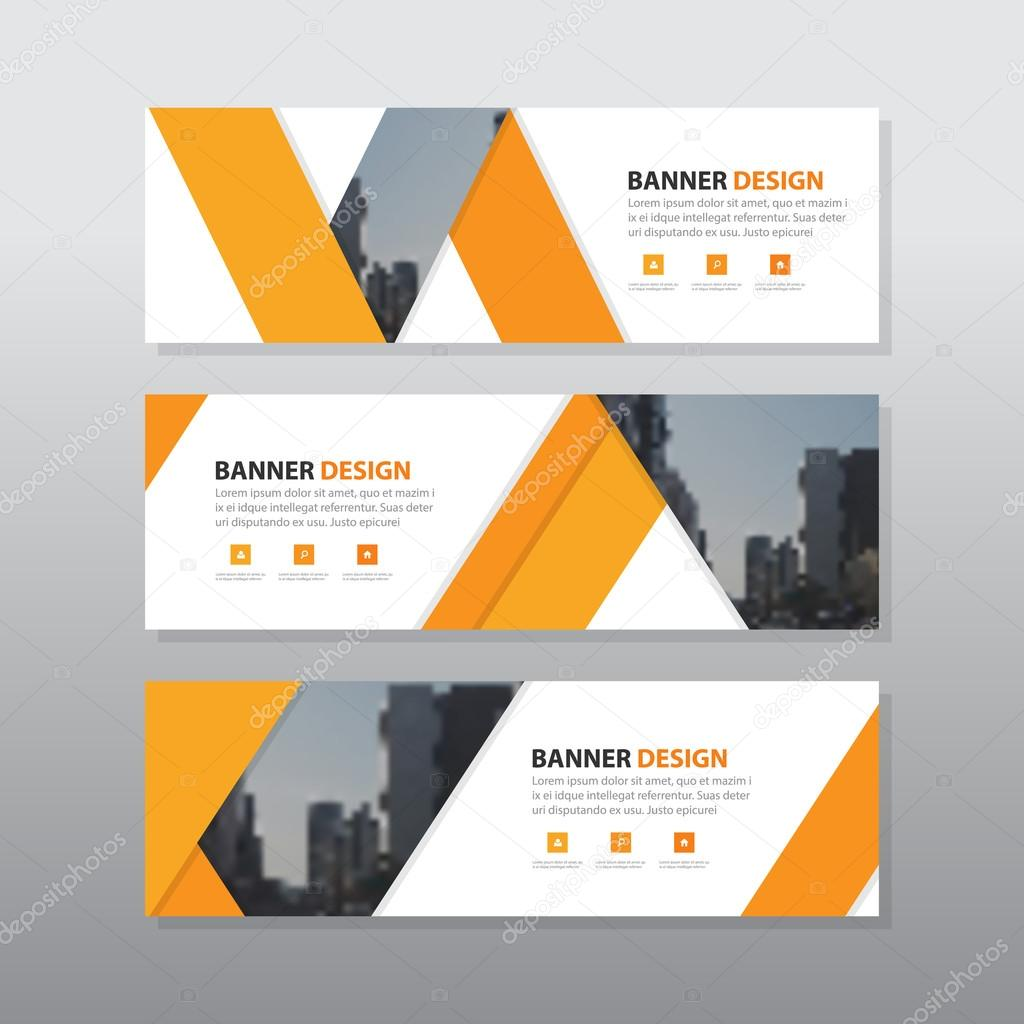 Orange triangle abstract corporate business banner template ...