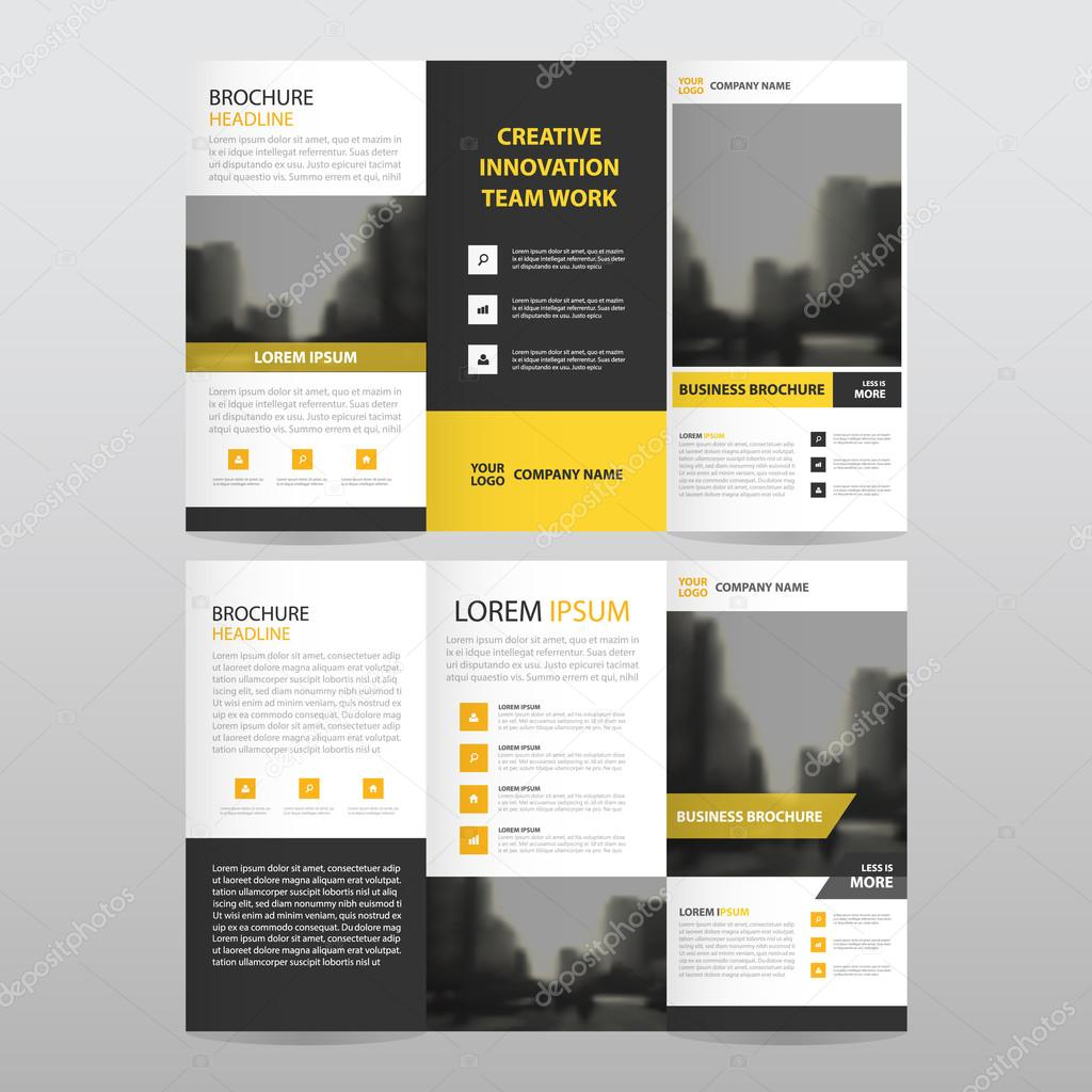 yellow black triangle business trifold leaflet brochure flyer yellow black triangle business trifold leaflet brochure flyer report template vector minimal flat design set