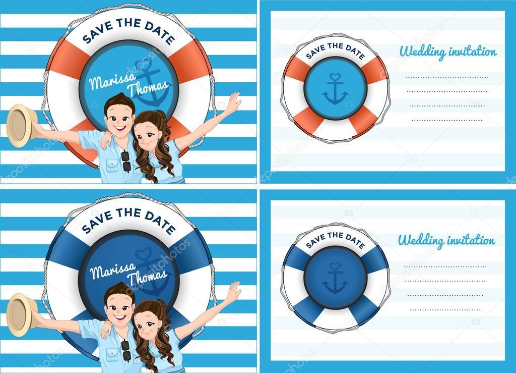 Matrimonio biglietto dinvito in tema mare blu — vettoriali