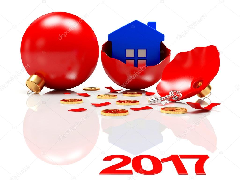 broken red christmas balls with a blue house inside and text 2017
