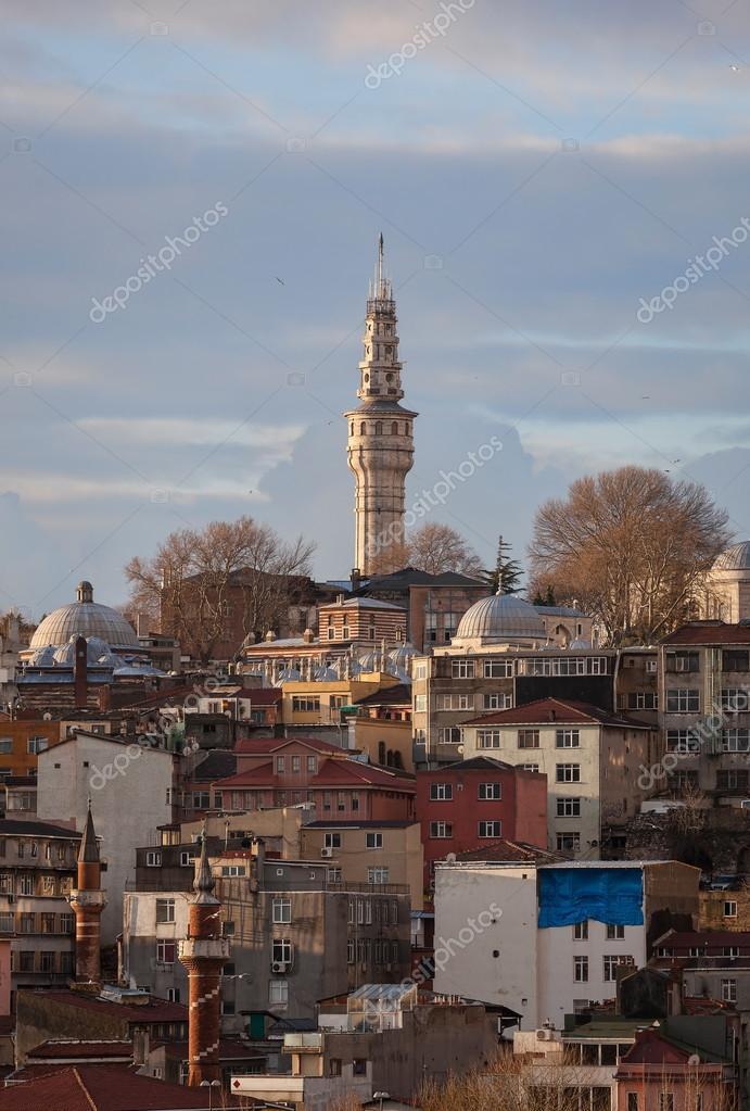 Beyazit tower between city roofs — Stock Photo © Koraysa ...