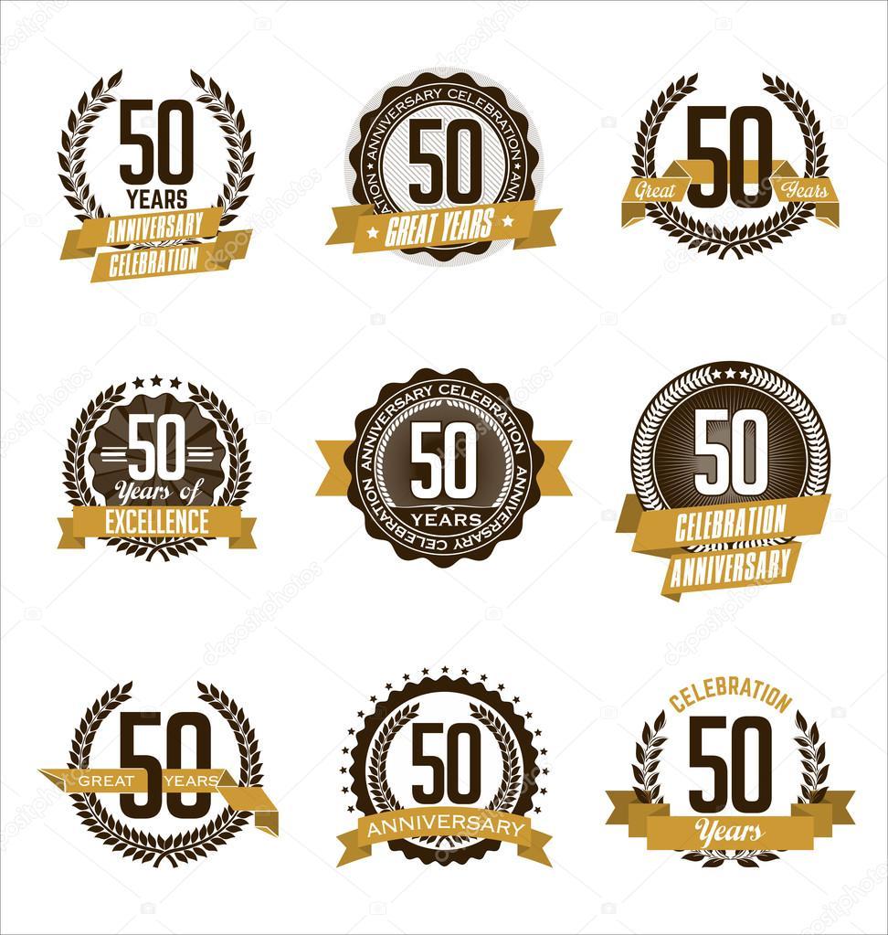 Conjunto Vintage aniversario insignias celebración de marrón y oro 50 años\u2014 Vector de visarts