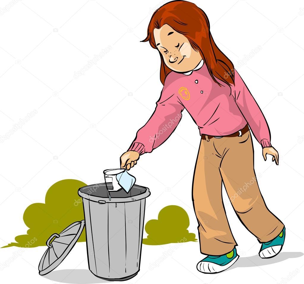 Los niños tirar basura — Archivo Imágenes Vectoriales ...
