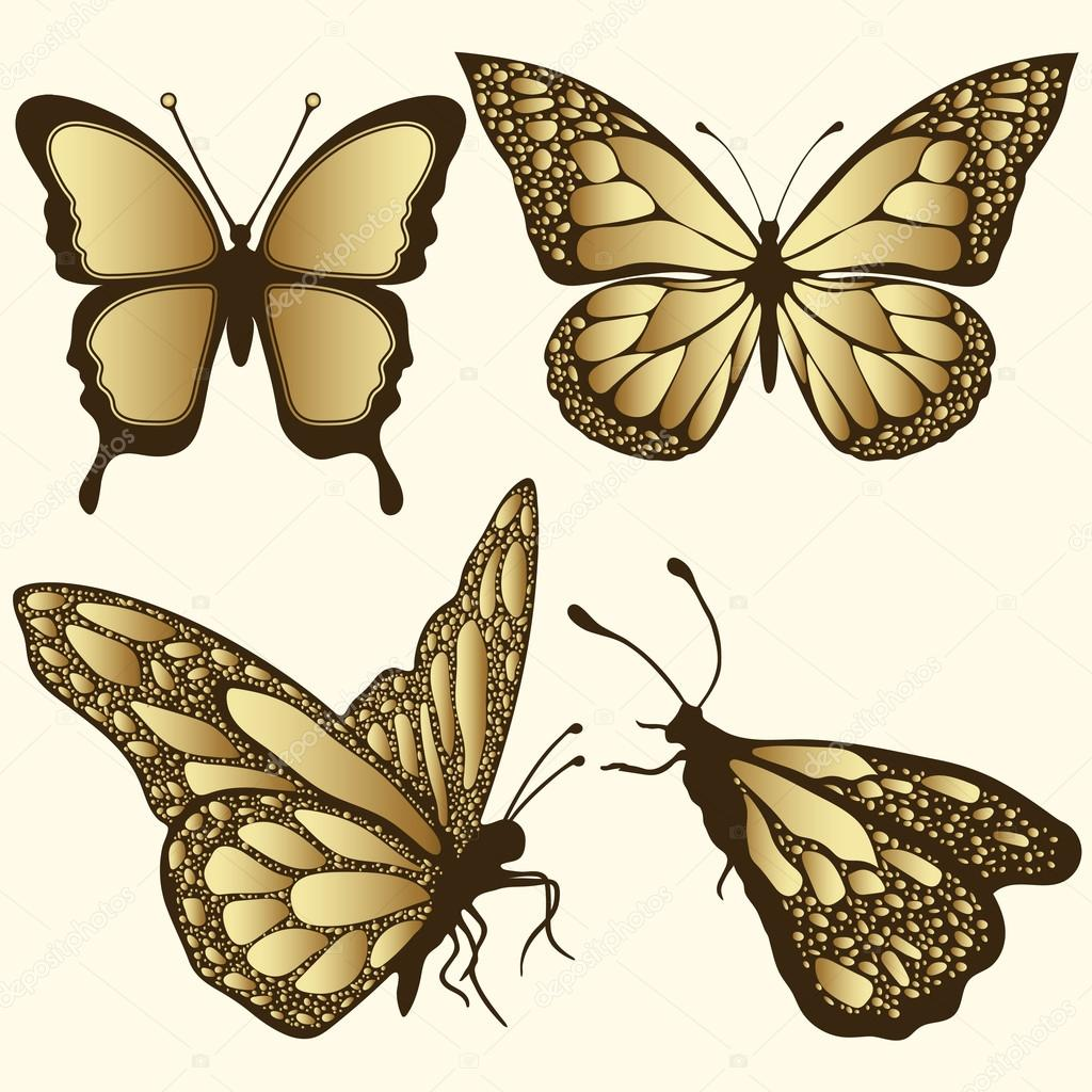 Tattoos arabesque tattoos arabeske tattoos arabesk tattoos - Golden Butterfly Set Luxury Design Expensive Jewelry Brooch Exotic Patterned Insect Tattoo Decorative Element Vector Illustration Vector By Eva_che