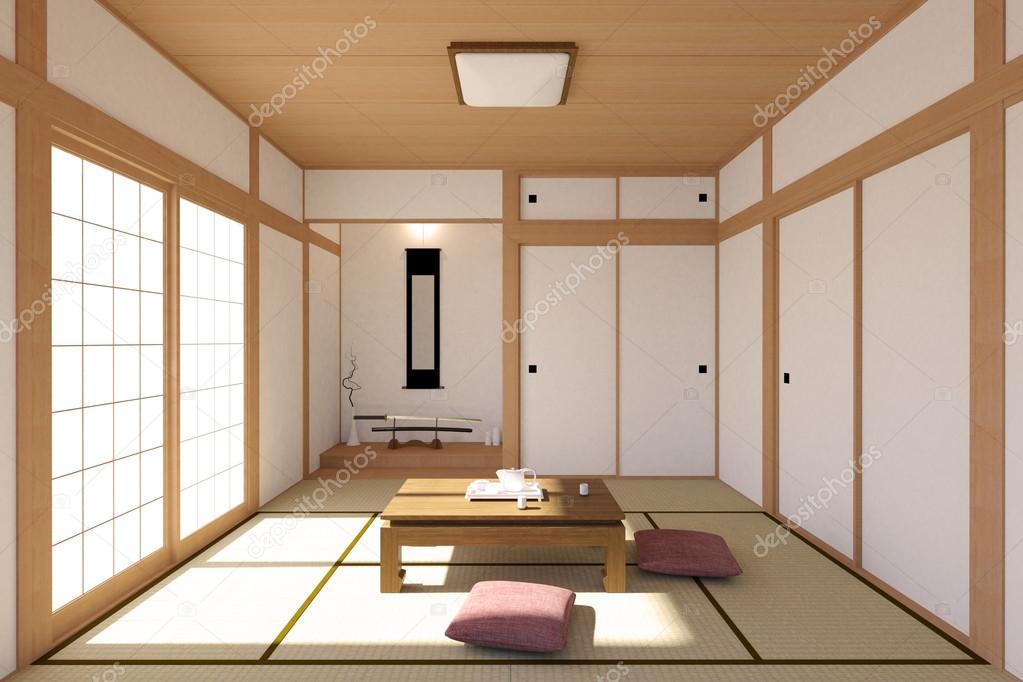 Interior sal n japon s en dise o tradicional y minimalista - Salones de diseno minimalista ...