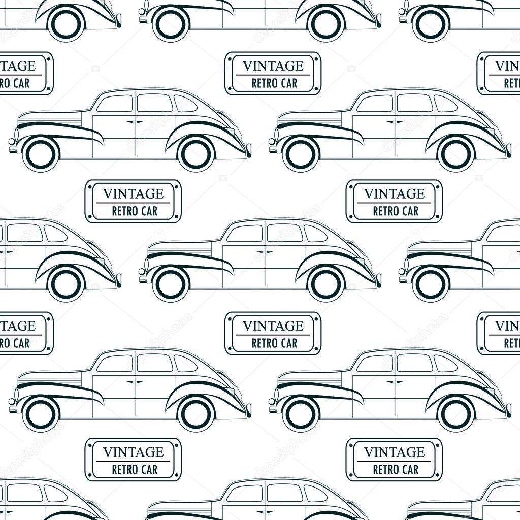 mod le avec des voitures anciennes et plaques d 39 immatriculation dans un style lin aire image. Black Bedroom Furniture Sets. Home Design Ideas