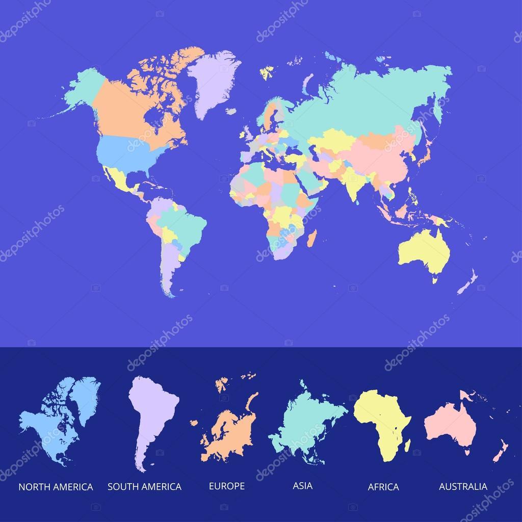 世界地图国家多彩.矢量图