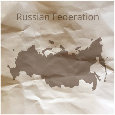 Russia map on paper. Map of the Russia on papyrus. Vector illustration.
