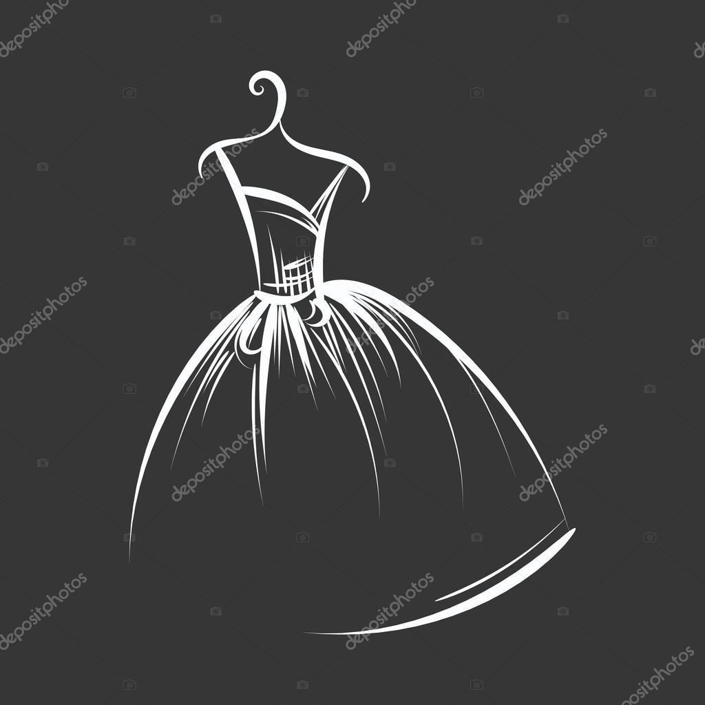 Рисунки платья на вешалке 5