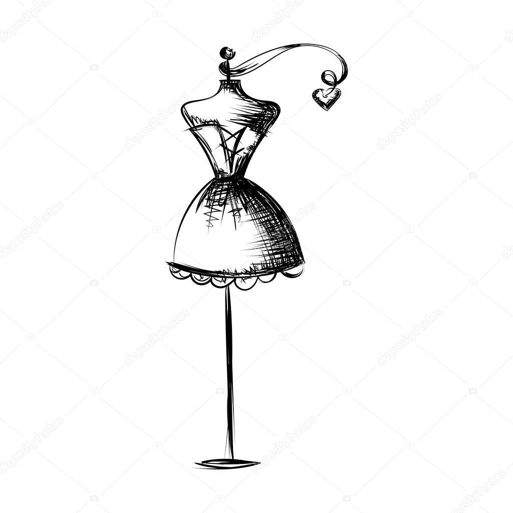 Mano de maniqu vestido dibujo vector ilustraci n - Perchero maniqui ...