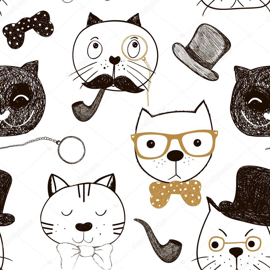 Patr n transparente con caras de gatos fondo de gatos for Red transparente para gatos