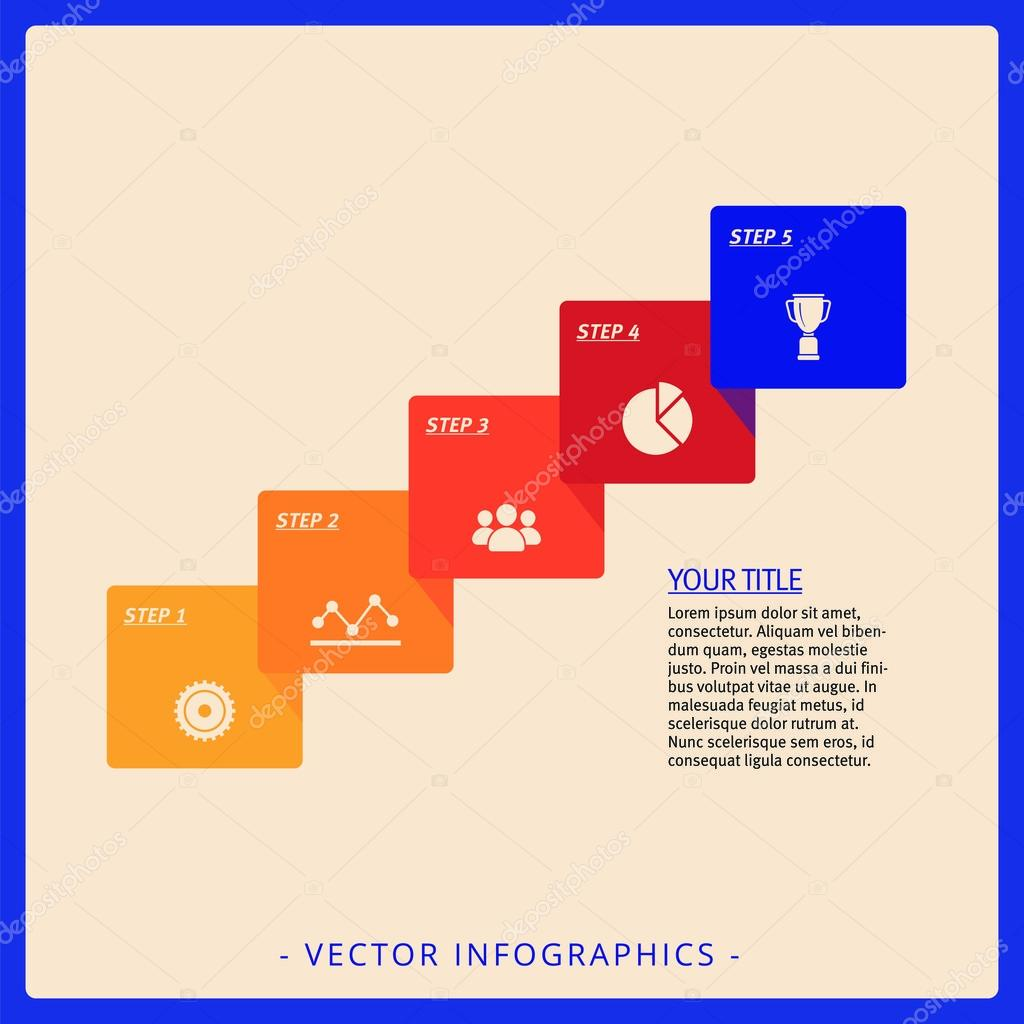 five step process diagram template stock vector surfsup vector