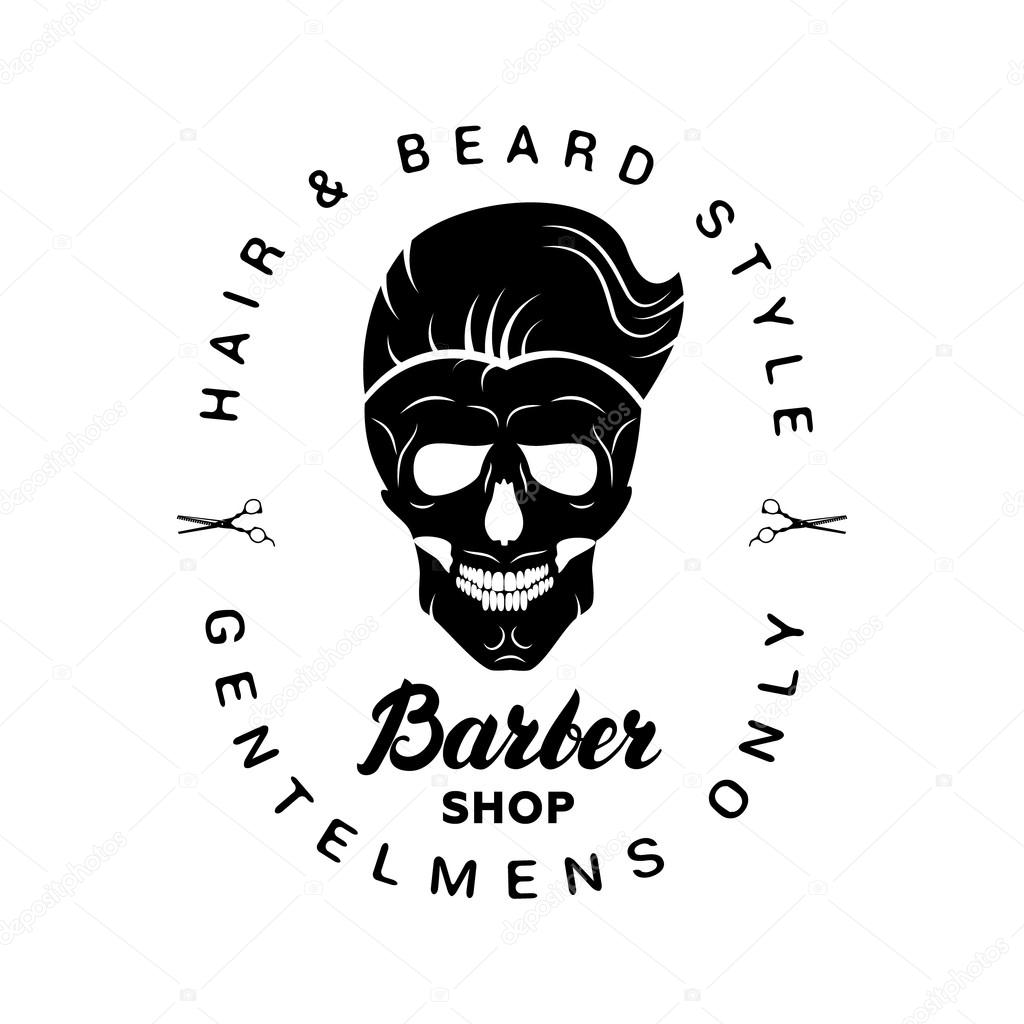 Black barbershop logo, label, badge with lettering and ...